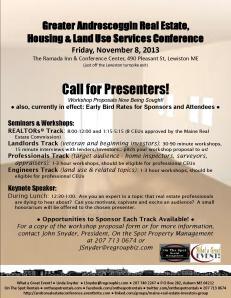 Androscoggin Real Estate, Housing & Land Use Flyer - November 8, 2013