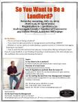 So You Want to Be a Landlord Flyer - July 13 2013